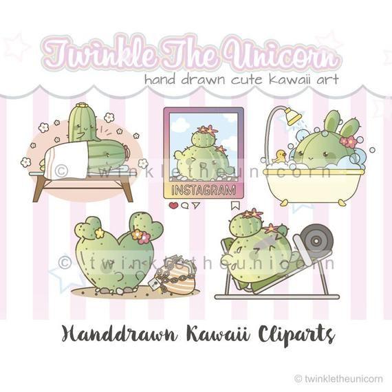 Kawaii Cactus mixed planner clipart set