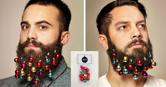 Big bushy beards are approaching the mainstream, so wannabe trendsetters need to find new ways for their facial foliage to stand out. This holiday season, these bizarre Beard Baubles will do the trick – these clip-on Christmas decorations will turn men's faces into glittering festive centerpieces!: