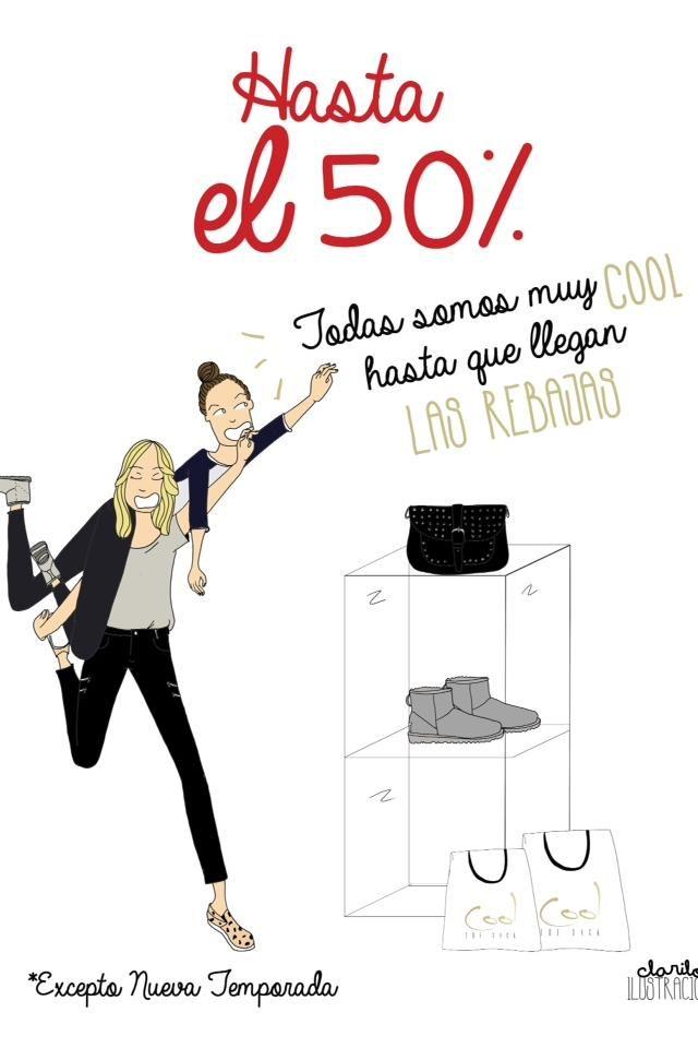 R E B A J A S Hasta el 50% de descuento!!! Comienzan las rebajas mas Cool en Zielo Shopping Pozuelo. Ilustracion by @clarilou_