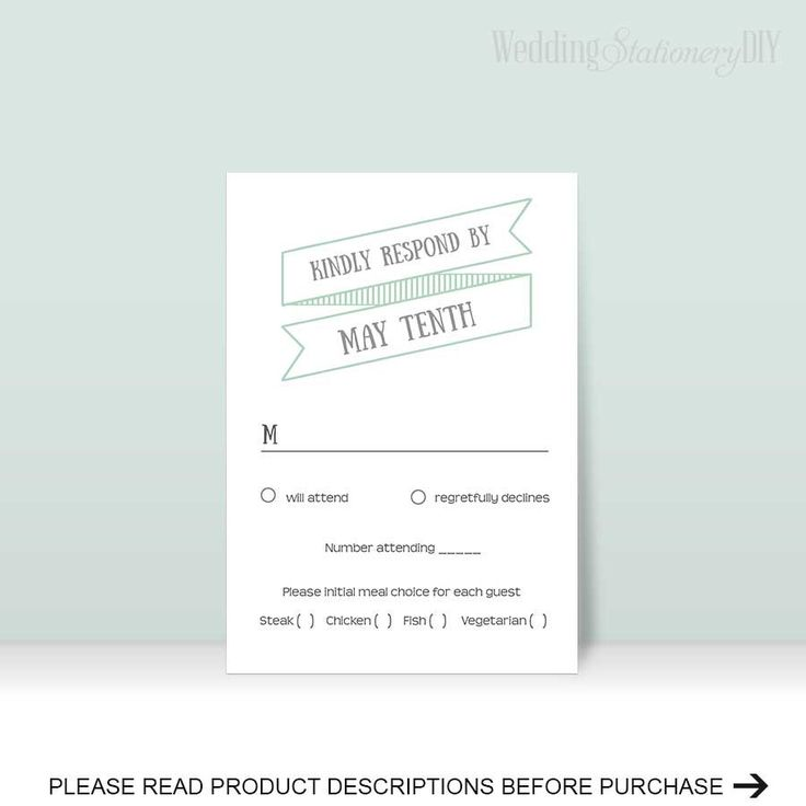 Modern rustic reply card  Response card  Wedding RSVP  RSVP template  diy wedding  RSVP cards  Color, text, size, print at home by you  F20 by WeddingstationeryDIY on Etsy