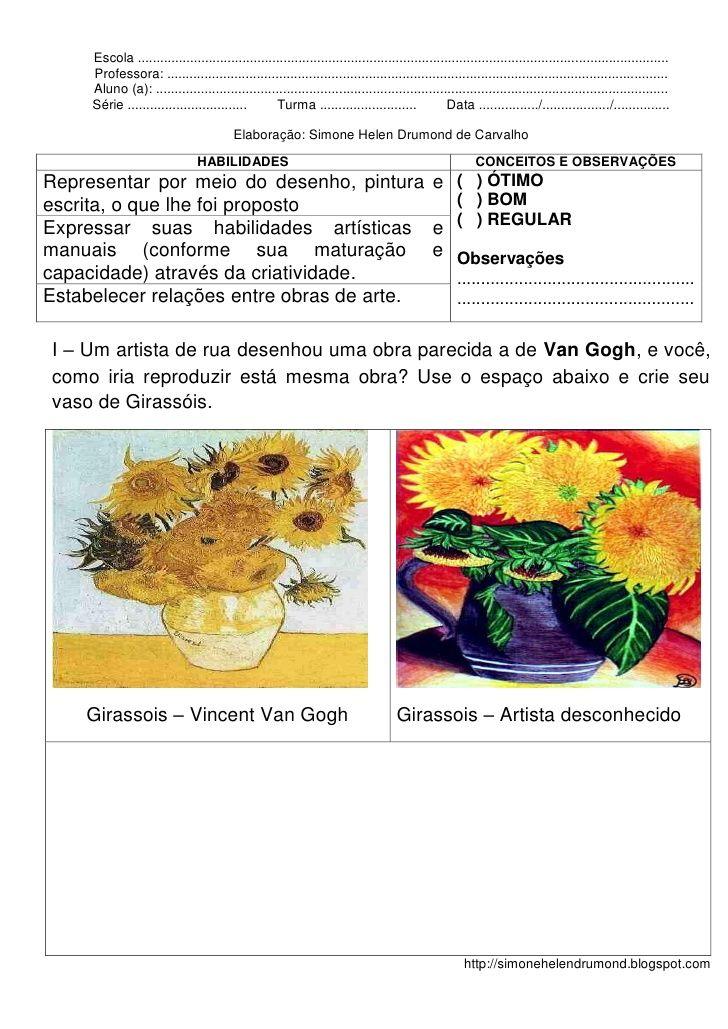 2 Avaliacao De Arte Por Simone Drumond Atividades De Artes