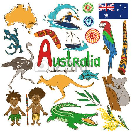 Colorful sketch collection of Australia icons countries alphabet Stock Vector
