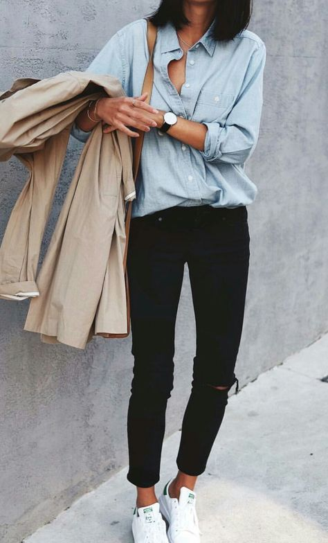 This entire outfit is built around neutral staples, like a chambray shirt, black denim and classic trench coat. Athleisure + Minimalist + Classically Chic = Mash Up Style Image via @andicsinger