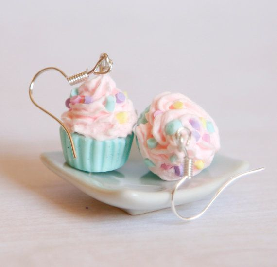 Pastel pink and mint cupcake earrings made of Polymer by Zoozim, $18.00