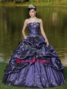 Custom Size Strapless Quinceanera Dress Beaded Decorate With Blue