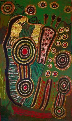 Iyawi Wikilyiri, Ngarutjara, 2012, Acrylic on linen,118 x 200 cm. Aboriginal and Pacific Art, Sydney.