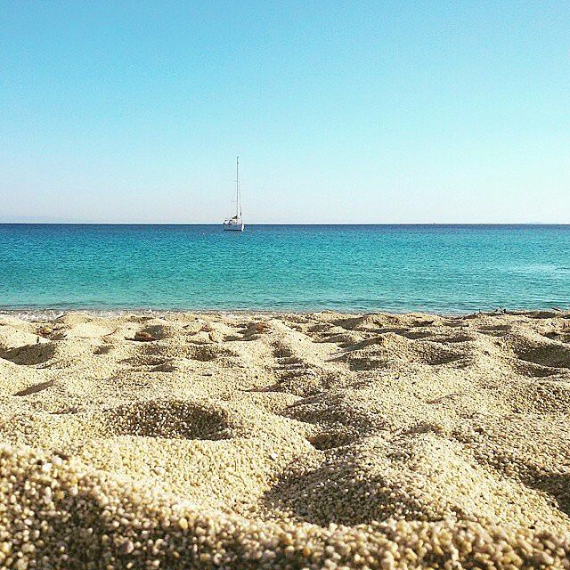 Naxos island (Νάξος). The adorable beach of Agios prokopios with the golden sand and crystalline waters !! That's Greece .