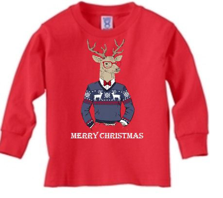 Merry Christmas Hipster Boys Shirt by GraceandJinnleys on Etsy #Christmas #hipster #toddler #boy