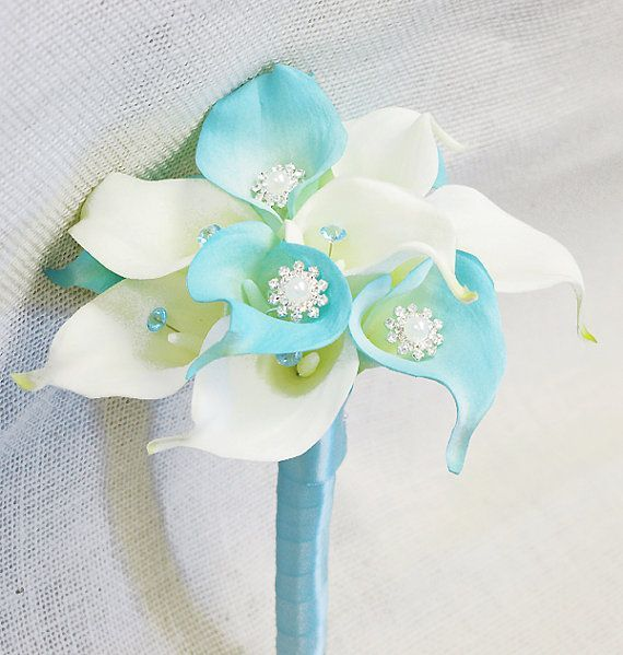 Silk Flower Wedding Bouquet Tiffany Blue Calla Lilies By Wedideas Mint Bouquet Wedding Silk Flower Wedding Bouquet Flower Bouquet Wedding