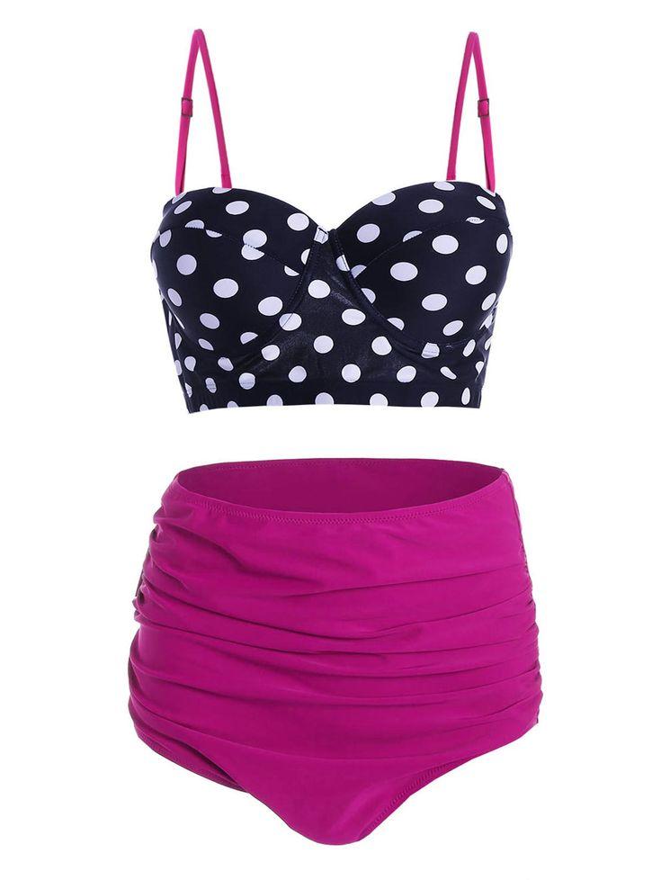 Retro Plus Size Polka Dot Bikini - PEACH RED XL