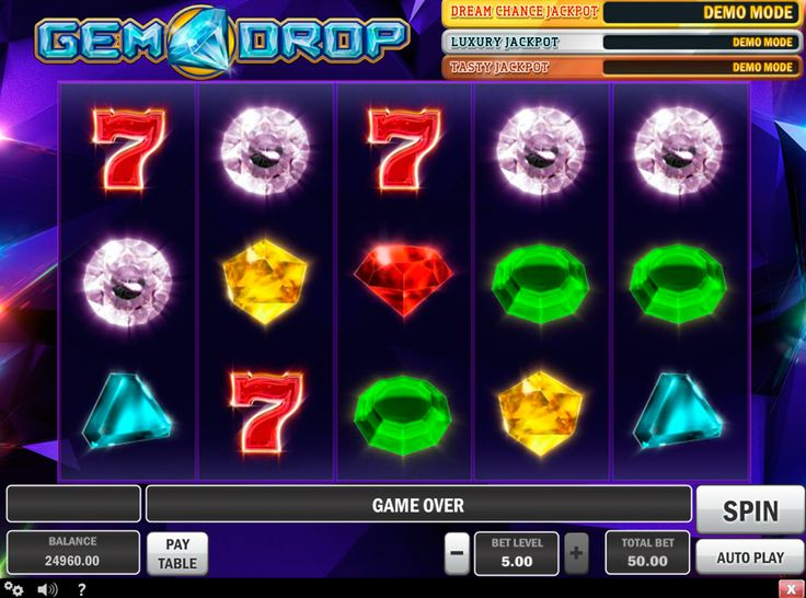 """Schöne und progressive Grafic im PlaynGO Spielautomat """"Gem Drop"""".  Träumst von progressiven Jackpot? Die Zeit ist gekommen - fange an kostenlos zu spielen!"""