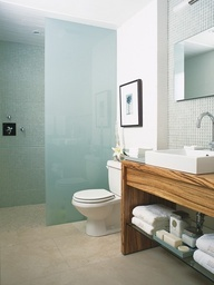 frosted glass, wood vanity, open space below sink, doorless shower