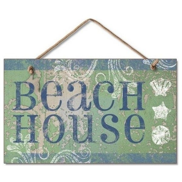 "Beach House Sign 10"" - Decorative Sign - Tropical - Novelty Signs ... ❤ liked on Polyvore featuring home, home decor, wall art, tropical home decor, tropical wall art and tropical signs"