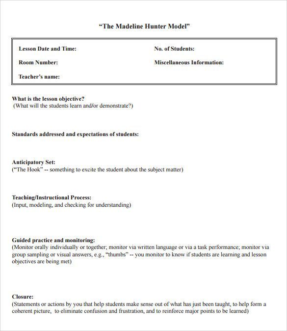 sample madeline hunter lesson plan format