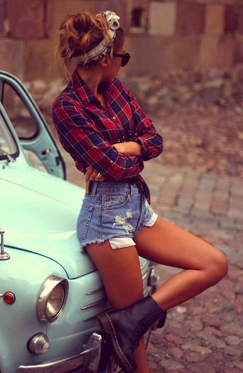 Check Shirt With Jeans Shorts and Veil