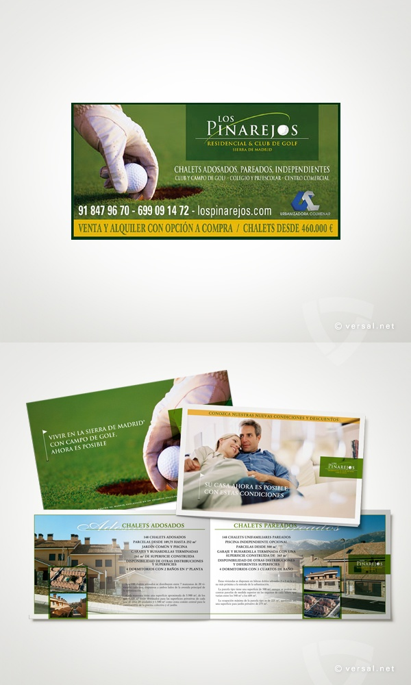 Los Pinarejos -   Conjunto Residencial & Club de Golf - Sierra de Madrid  (Campaña 2008)   Encarte prensa y Valla de carretera  - www.versal.net • Diseño Gráfico • Identidad Visual Corporativa • Publicidad • Diseño Páginas Web • Ilustración • Graphic Design • Corporate Identity • Advertising • Web Pages • Illustration • Logo