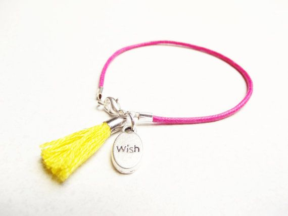 Pink Waxcord Tassel Bracelet  If I Could Have One Wish by SpringToFall, €5.95