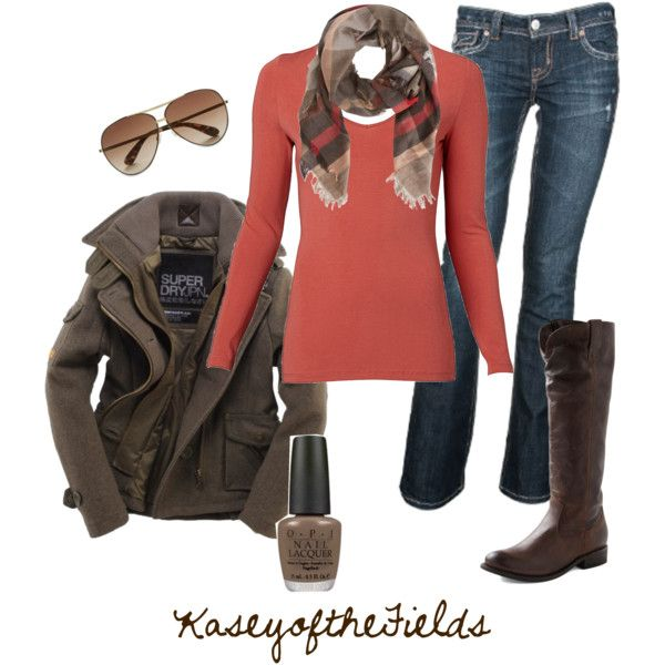 """Fall Coral 2"" by kaseyofthefields on Polyvore, LOVE IT ALL: from the plaid scarf, brown wool jacket and coral sweater"