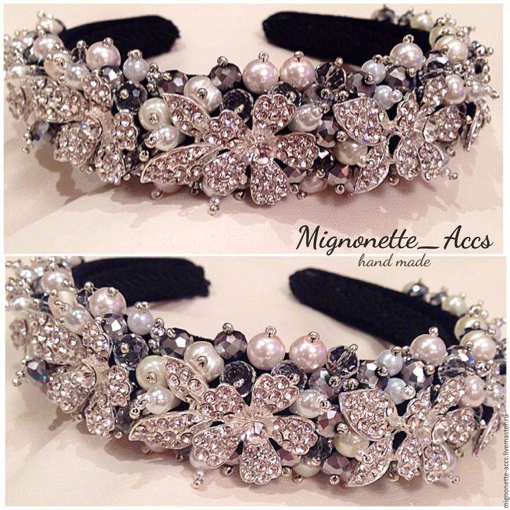 """Купить Обруч для волос """"Diamond"""" - белый, ободок, обруч, украшения для волос, украшения для невесты"""