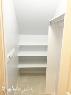 Under the stairs closet.  Great use of space!  Custom closet DIY finished in 3 days.  Easy custom storage.