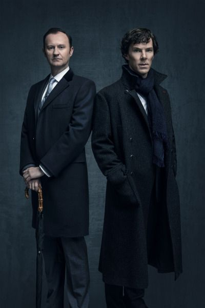 SHERLOCK (BBC) ~ Mark Gatiss & Benedict Cumberbatch S4 promo photo