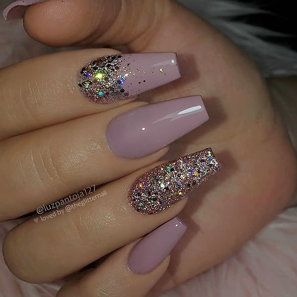 Dusty Rose With Gold Glitter Acrylic Nails Ideas