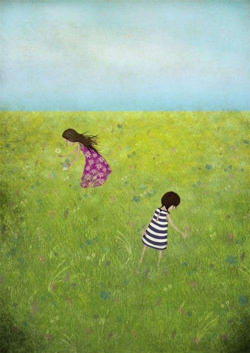 Summera meadow, illustration by Majali #nordicdesigncollective #summer #sommar #meadow #poster #print #majali #flower #grass #pickflowers #children #girls #dress #pattern #stripes #stripe #stripes #sky #blue #green #pink