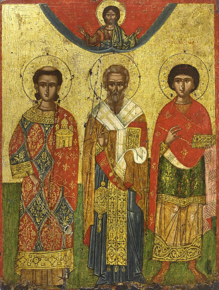 Icon of St. Stephen the Protomartyr St., Gregory the Theologian and St. Panteleimon, Greek, mid-18th century, gesso, tempera and gold on wood panel, 48 x 36.2 cm
