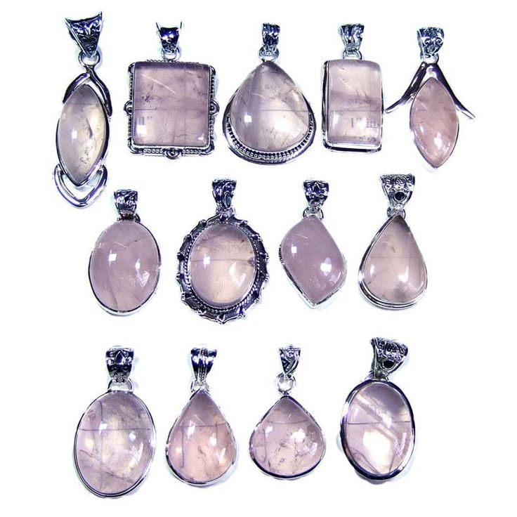Silver Jewelry Pendants Lot With Rose Quartz Gemstones Price $USD   255 Weight 250 gms