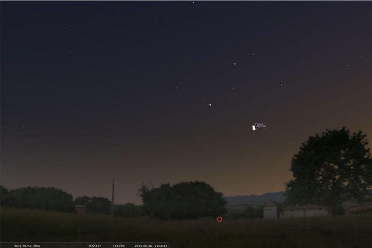 Giove e Venere dopo il tramonto nel cielo del 30 giugno.Il pianeta Venere è più luminoso poiché, anche se molto più piccolo, è sensibilmente più vicino alla Terra rispetto al gigante gassoso<br/><br/><i>(immagine ricavata utilizzando il software Stellarium)</i>