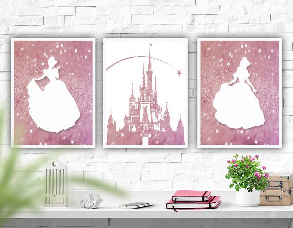 Printable Art Disney Castle Nursery Wall Art Set of 3 Prints Princess Art Print  Pink Decor Nursery Decor Baby Girls Instant Download