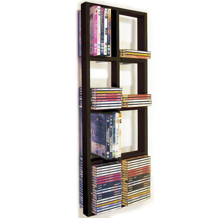 IRIS - Double Wall 152 CD / 64 DVD / Blu ray Storage Shelf - Black/Brown