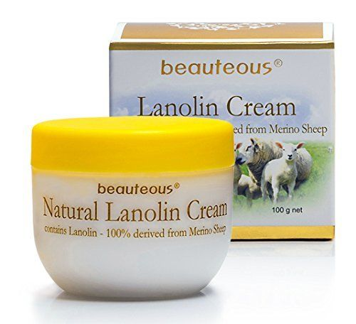 New Zealand Natural Beauteous Lanolin Cream with Lanolin from Merino Sheep, Colostrum and Vitamin E, 100g