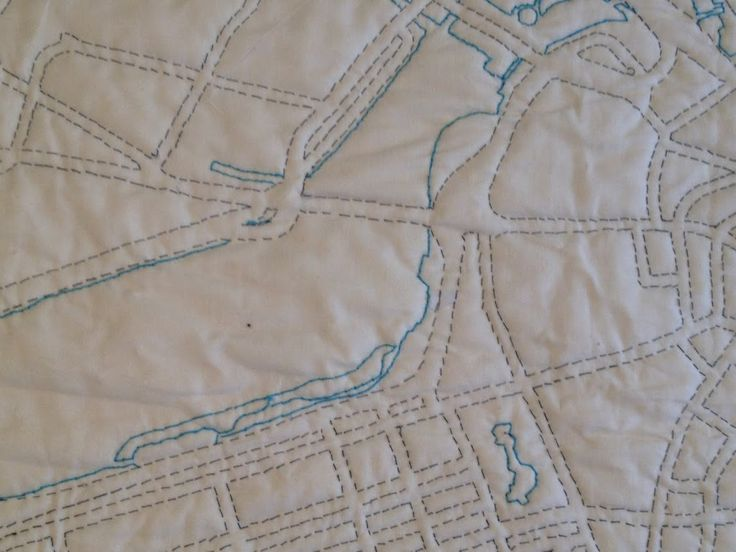 """A while ago I read about Haptic Lab, a company that makes quilts using city maps, combining my love of sewing and cartography – what more could a girl want? They have full bed-sized quilts that are pretty expensive, but they also have """"do it yourself"""" kits. What could I do but start my own {...Continue Reading}"""