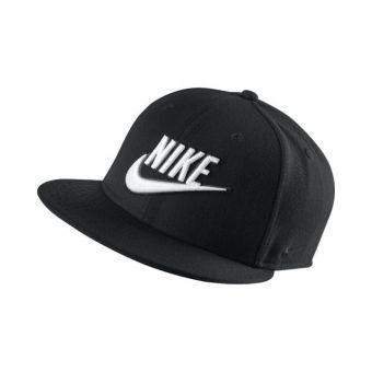 casquette snap noir simple avec motif nike en blanc