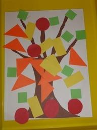 Combineer geometrische vormen met thema herfst