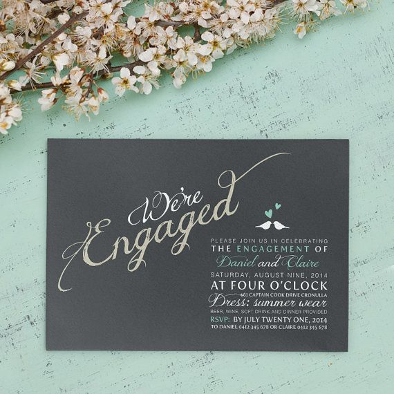 Printable Engagement Invitation  We're Engaged by CocoEllaWeddings