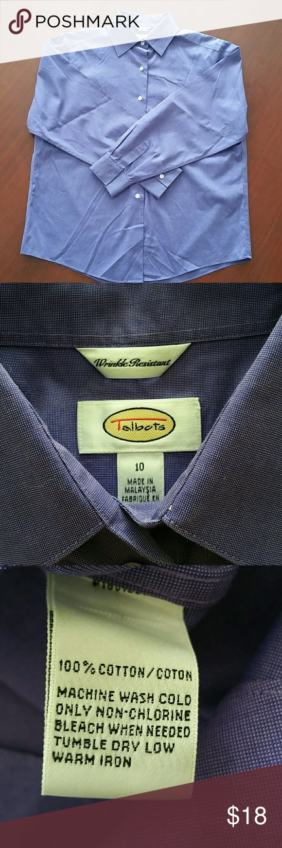"""Talbots Wrinkle Resistant Purple Dress Shirt Talbots Wrinkle Resistant purple dress shirt, size 10. In very good used condition. 100% cotton.  Armpit to armpit - 22"""" Shoulder to hem - 27"""" Talbots Tops Button Down Shirts"""