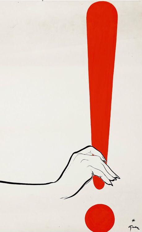 René Gruau (Renato Zavagli, 1909-2004) Illustration,ca 1950, Point d'exclamation, Gouache on paper.