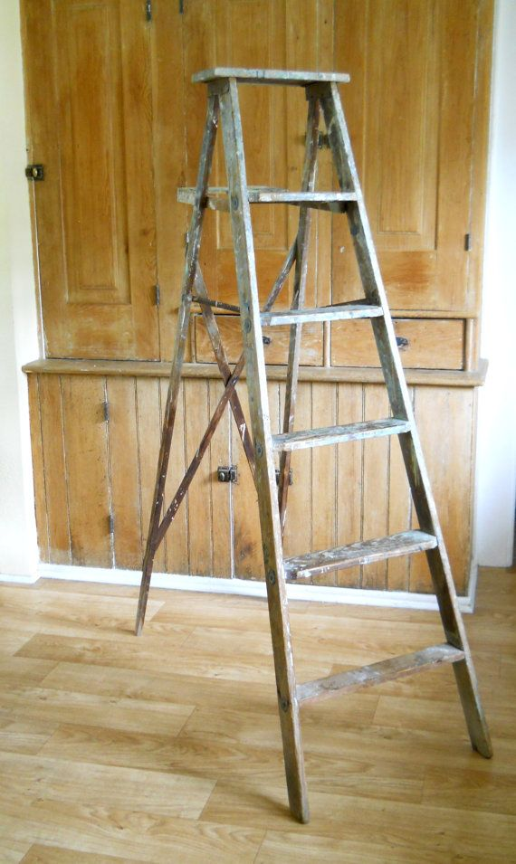 Vintage Wooden Painting Ladder  Tall Wood by lisabretrostyle2