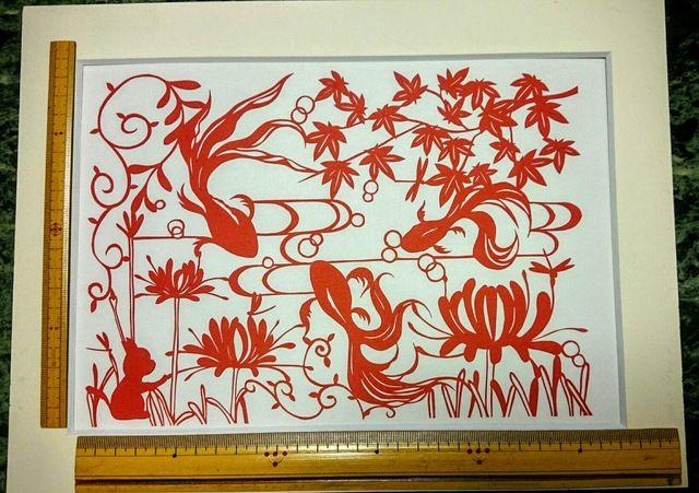 金魚と曼珠沙華 切り絵 原画