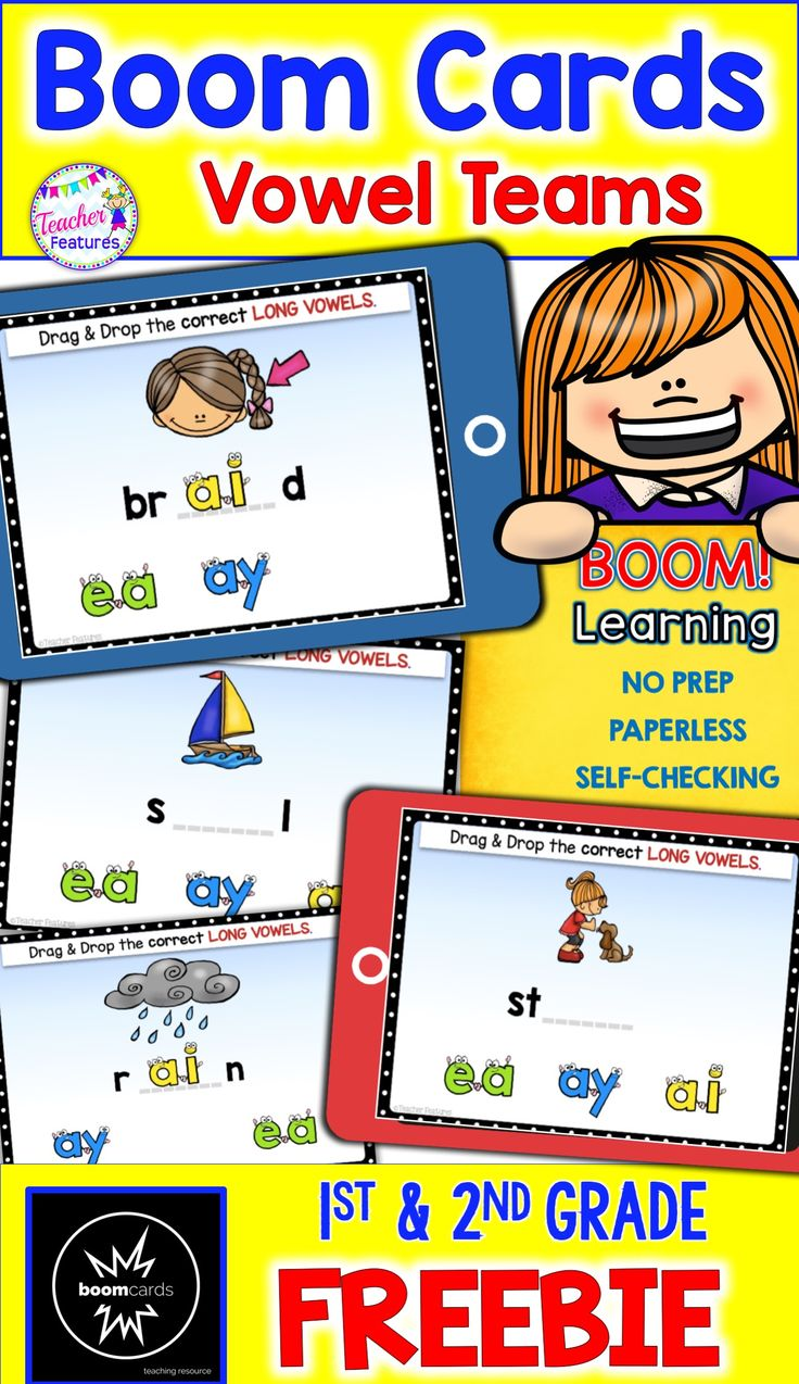 BOOM CARDS What if you had No Prep to do? What if all of you student's work checked itself? What if students received instant feedback? Digital Task Cards are the way to go! Download this FREE RESOURCE #BoomCards  #BoomLearning #TeacherFeatures #digitaltaskcards #FREE #FreeResource #ELA #technologyintheclassroom #LiteracyCenter #Phonics  #wordwork #1stGrade   #FirstGrade #2ndGrade  #SecondGrade #3rdGrade #ThirdGrade