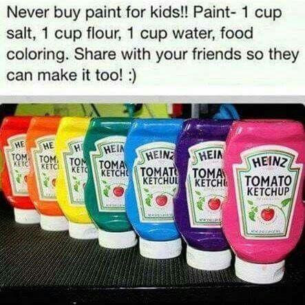 I've made homemade play dough and homemade bubble solution, I might as well try homemade paint for my granddaughter.