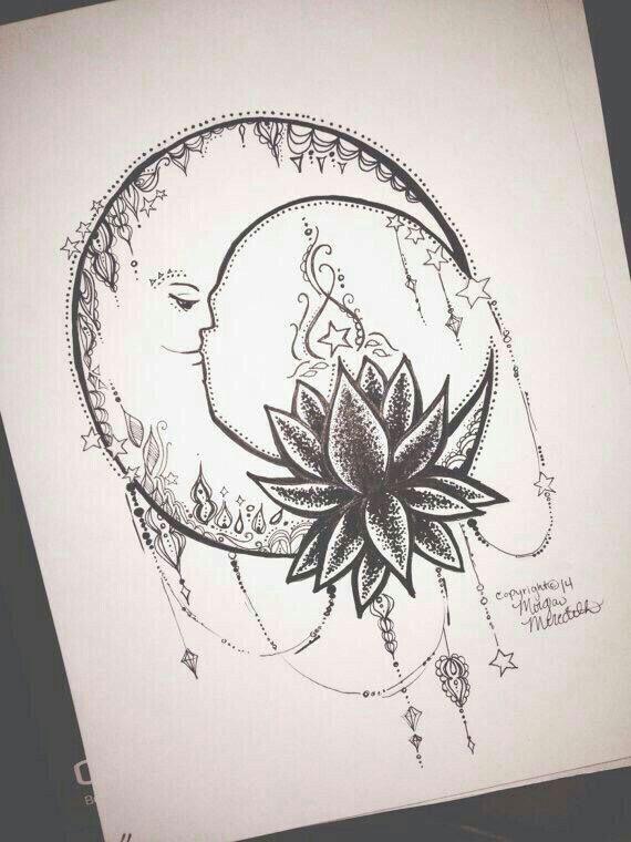 Moon And Lotus Flower Tattoo Design