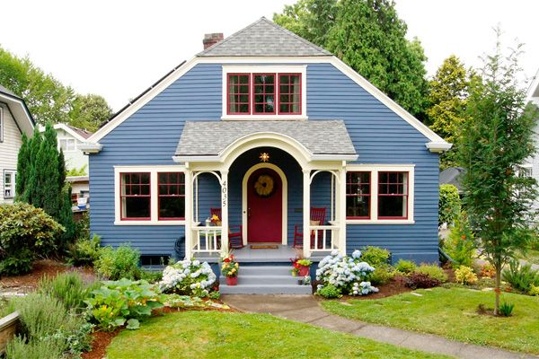 Bungalow Exterior Red White Blue House Exterior Blue Exterior House Colors House Paint Exterior