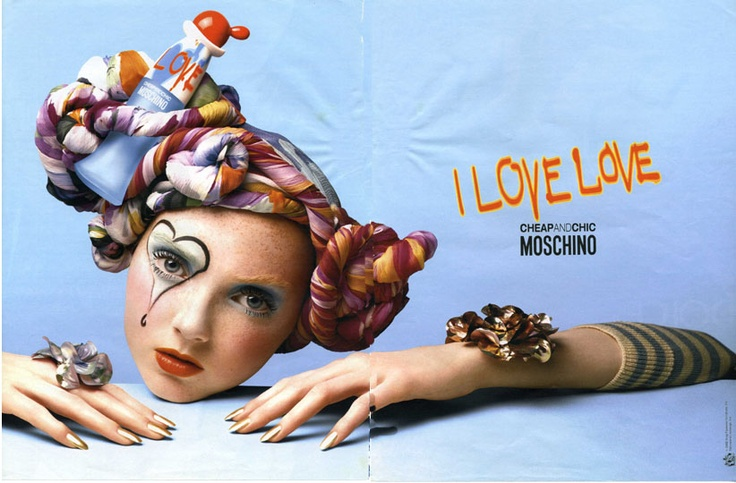Moschin 80's adv  http://blog.justwm.com/2012/06/25/moschino-ten-shots-to-tell-the-story-of-a-shamelessly-italian-brand/#