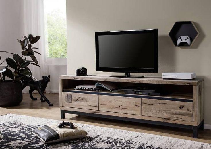 TV-Board Wildeiche 170x40x56 bianco geölt VILLANDERS #214   Wohnzimmer > TV-HiFi-Möbel > TV-Lowboards   Massivmoebel24