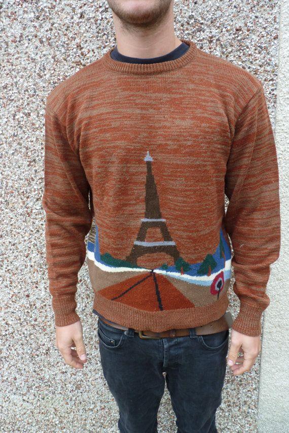 Winter Knit Bown Jumper Christmas Paris Eiffel by ChokokoClothing