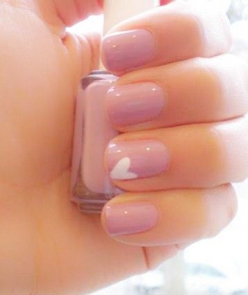 Cute simple pink nails OR clear with a soft pink heart