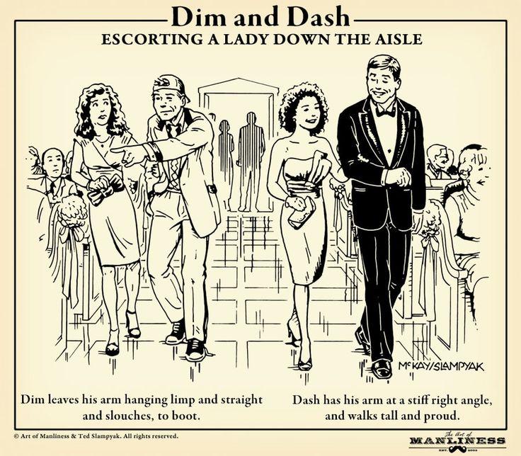 wedding usher etiquette walking people to seats illustration